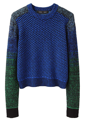 PROENZA SCHOULER - Cashmere & Wool Cropped Ombre Sleeves Sweater - Large