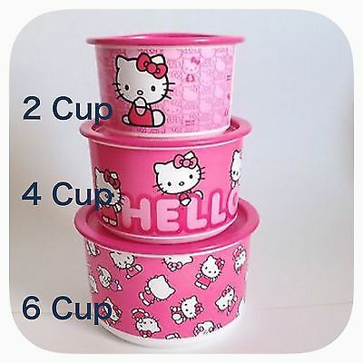 Tupperware Hello Kitty One Touch Canisters Set Lot Of 3 Brand New!!!
