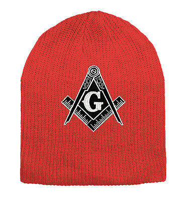 4e6a292c508 Masonic Hat Winter - Red Beanie Cap - Black and White Standard Masons Symbol