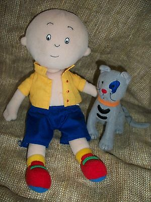 Caillou Plush Doll lot of 2 GILBERT THE CAT Gray Stuffed Animal Cinar PBS
