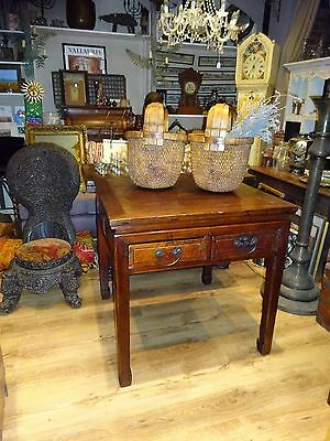 Antique 20th Century Chinese Elm Tall Square Gaming Table