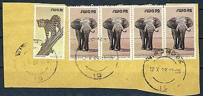 "1980 South West Africa 4 setenant ""Elephant High 2R"" values VF used on piece"