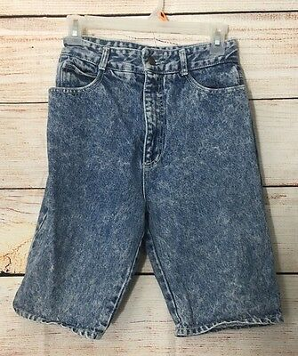 "High Waisted Acid Wash Jean Shorts Vtg 80's Cutter 26"" Waist USA St Tropez"