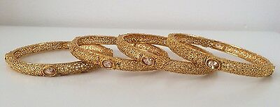 Bollywood Style/ Indian Jewellery/ Party wear/ 4 bangles/ gold and clear stones