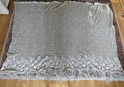 """Antique Lace Curtain with filet netting and fringe 84"""" x 66"""""""