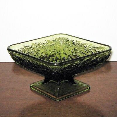 Green depression glass diamond shaped candy dish bowl - Flowers pattern