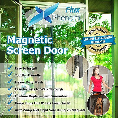 "NEW Flux Phenom Magnetic Screen Door Fits Sizes up to 38"" x 82"" Easy Install"