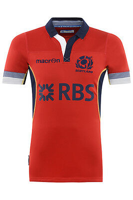 Scotland Rugby Red AWAY rugby SHIRT SLIM + TIGHT FIT SS Size:EU XXL / US: XL
