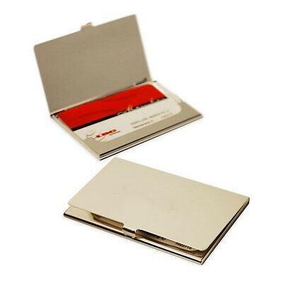 Stainless Steel Pocket Business Name Credit ID Card Case Box Holder Silver