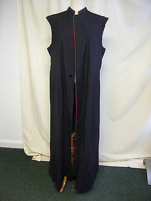 "Mens Gown long black priest wear, sleeveless, red piping, chest 46"", 2492"