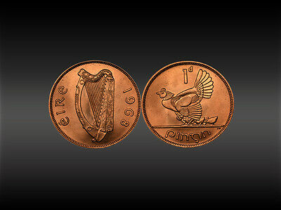 Irish 1D Penny Coin - 1968 - Hen with chicks and Harp scene (Eire)