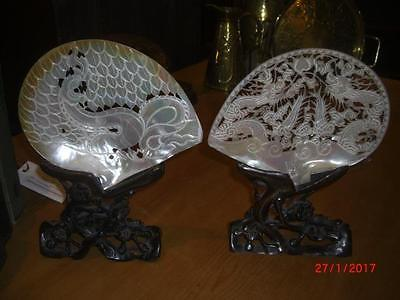 Pair of Chinese Carved Mother-of-Pearl Shell on Stand