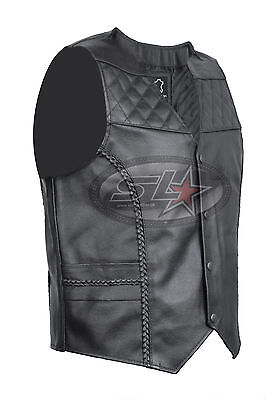 New Mens Real Leather Biker Style Cut Braided Motorcycle Padded Waistcoat/Vest