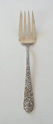 "VINTAGE S. KIRK & SON ""REPOUSSE"" STERLING SILVER COLD MEAT FORK, 65 grams"