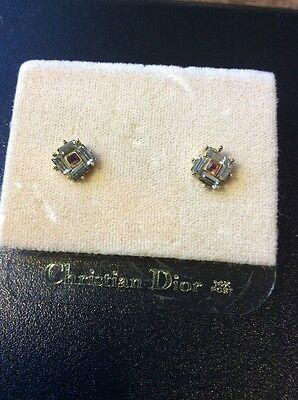 Vintage Christian Dior Rhinestone Pink Stone Pierced Earrings with 14K Posts