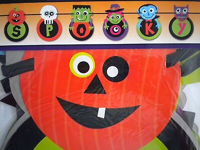 """COLOURFUL """"SPOOKY"""" JOINTED HALLOWEEN BANNER ~ 6 FT. (183 cm)"""