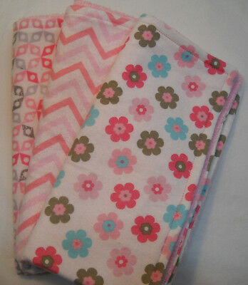Handmade Baby Girl Burp Spitup Cloths Pink Flowers Chevron Flannel Terrycloth