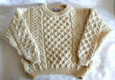Irish Cream Cable Knit Fisherman Wool Kids Boys Sweater 3T/4T NEW NWOT