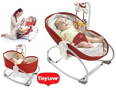 The Tiny Love 3-in-1 Rocker Napper beautifully designed in stylish red