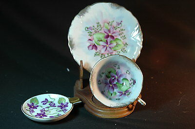 Japan and  Mitterteich Violets Cup, Saucer ( demi) and ashtray