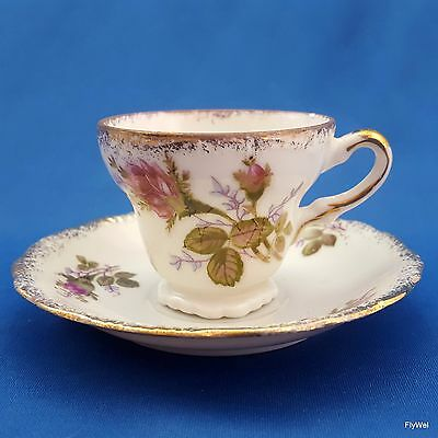 Mid-Century UCAGCO Moss Rose Demitasse Cup and Saucer Pink Floral Gold Trim