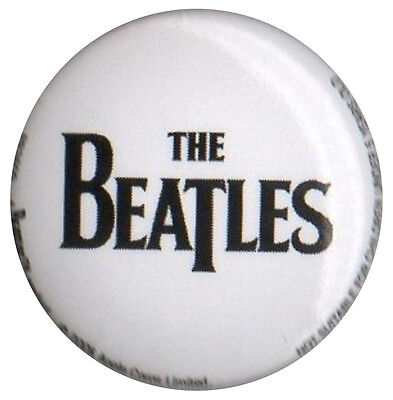 The Beatles Drum Skin Logo White 1 inch button pin badge Official Merchandise