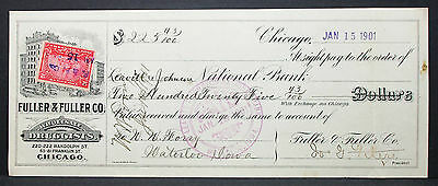 US Check National Bank Fuller Druggists Chicago Iowa Paid Stamp 1901 (H-6793+