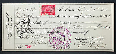 US Check National Lead Bank St. Louis Paid Documentary Stamp 2c 1900 (H-6772+