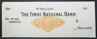 US Check The First National Bank Mc. Donald Documentary Stamp 2c Unused (H-6808+