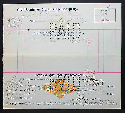 US Check National Bank NY Steamship Paid Documentary Stamp 2c 1901 (H-6743+