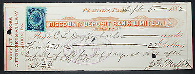 US Check Discount and Deposit Bank Attorneys Clarion Inter. Rev. Stamp (H-6822+