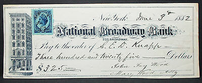 US Check National Broadway Bank NY Inter. Rev. Stamp 2c 1882 USA Scheck (H-6824+