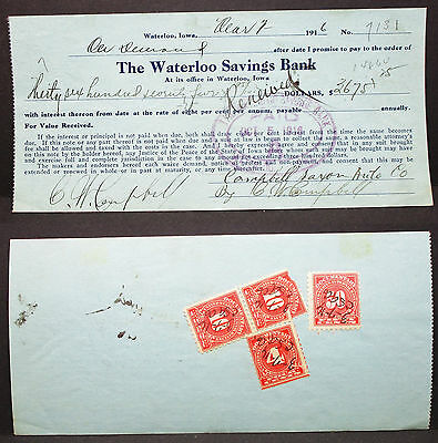 US Check Savings Bank Waterloo Paid Documentary Pair 10c Rate 74c 1916 (H-6745+