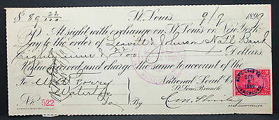 US Check National Lead Bank Iowa Paid Cancelled Documentary Stamp 1899 (H-6748+