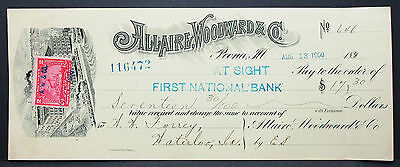 US Check Allaire Woodward National Bank Peoria Documentary Stamp 2c 1900 H-6776+