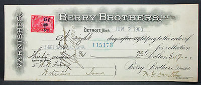 US Check National Bank Berry Brothers Varnishes Documentary Stamp 1900 (H-6755+