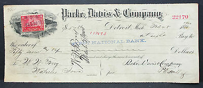 US Check National Bank Parke Davis Company Detroit Documentary Stamp 2c (H-6754+