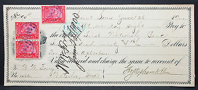 US Check First National Bank St. Louis Documentary Stamp Pair 2c 1900 H-6788+