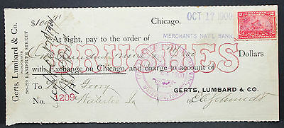 US Check Merchants Nat'l Bank Lumbard Brushes Chicago Paid Stamp 1900 (H-6756+