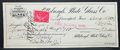 US Check National Bank Plate Glass Pittsburgh Documentary Stamp 2c 1899 (H-6760+