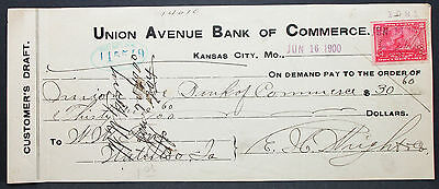US Check Union Avenue Bank Commerce Kansas City Documentary Stamp 1900 (H-6764+
