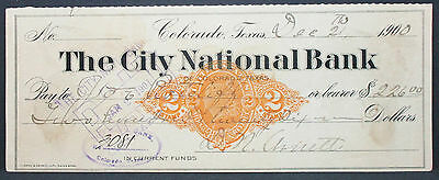 US Check The City National Bank Colorado Paid Documentary Stamp 2c 1900 (H-6813+