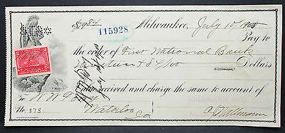 US Check First National Bank Wallmann Milwaukee Documentary Stamp 1900 (H-6766+