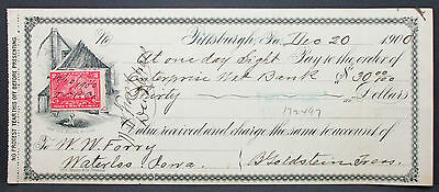 US Check National Bank of the Republic Pittsburgh Documentary Stamp 1900 H-6783+