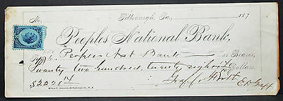 US Check Peoples National Bank Pittsburgh $2228 Inter. Rev. Stamp 2c (H-6820+