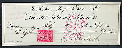 US Check Leavitt & Johnson Bankers Waterloo Paid Documentary Stamp 1898 (H-6762+