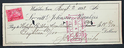 US Check Leavitt & Johnson Bankers Waterloo Paid Documentary Stamp 1898 (H-6763+