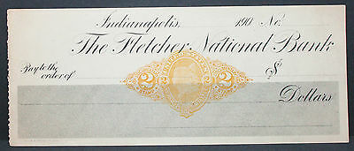 US Check Fletcher National Bank Indianapolis Documentary Stamp Unused (H-6811+