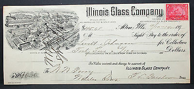 US Check Leavitt & Johnson Bank Glass Company Illinois Documentary Stamp H-6780+