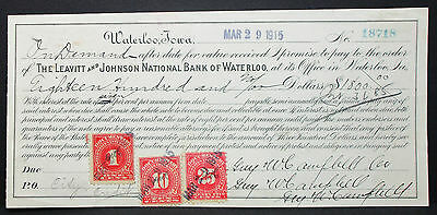 US Check Leavitt & Johnson National Bank Waterloo Documentary Stamp 25c (H-6825+